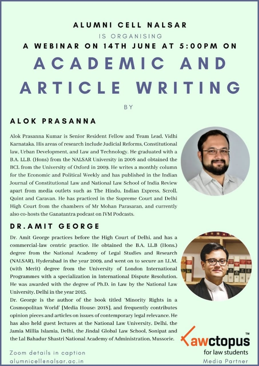 Webinar Session on Academic and Article Writing by NALSAR Alumni Cell