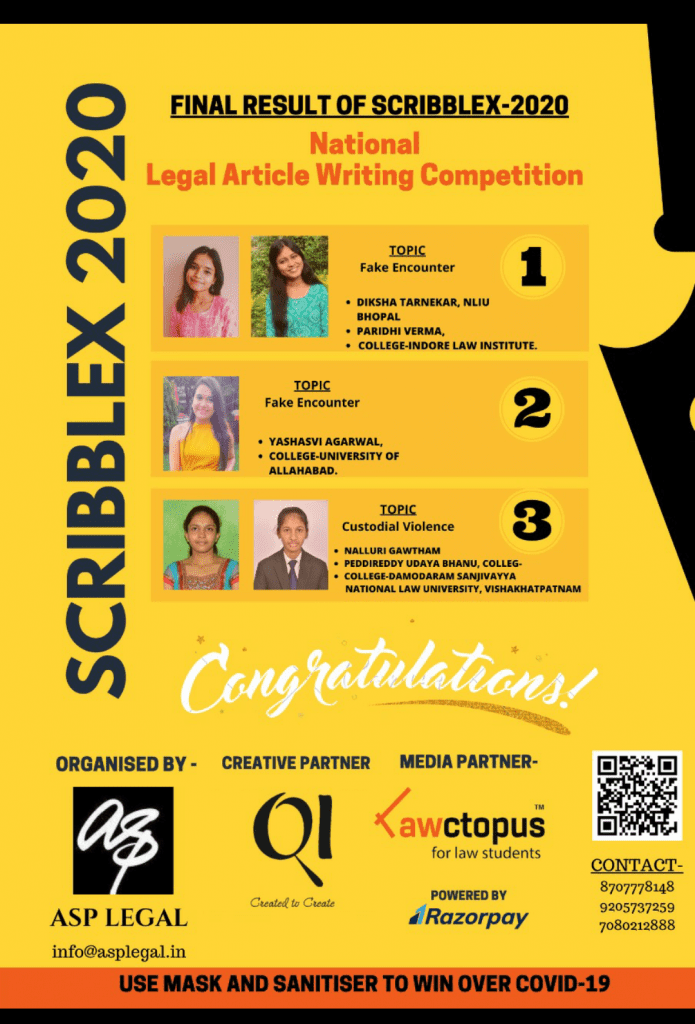 SCRIBBLEX-2020: 1st National Legal Article Writing Competition by ASP Legal