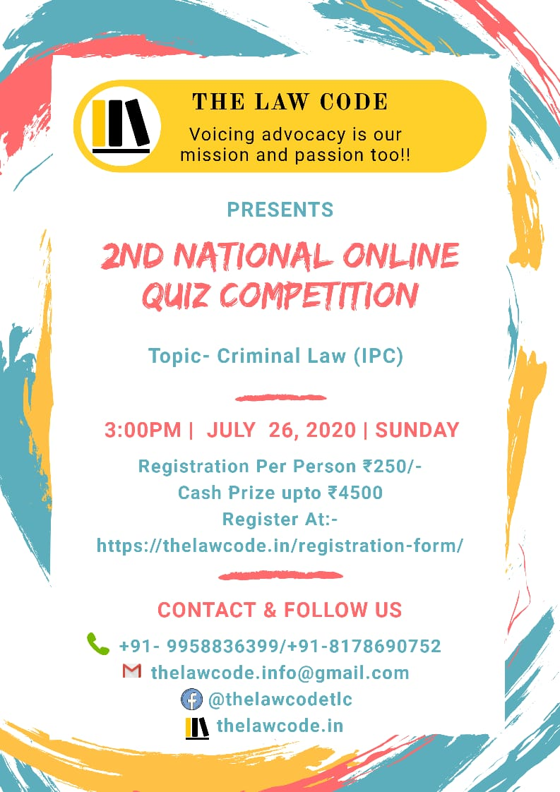 The Law Code's 2nd National Online Law Quiz Competition on Criminal Law