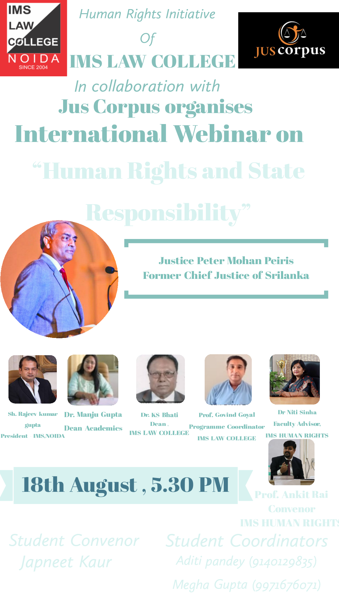 Webinar on HHuman Rights and State Responsibility by IMS Law College