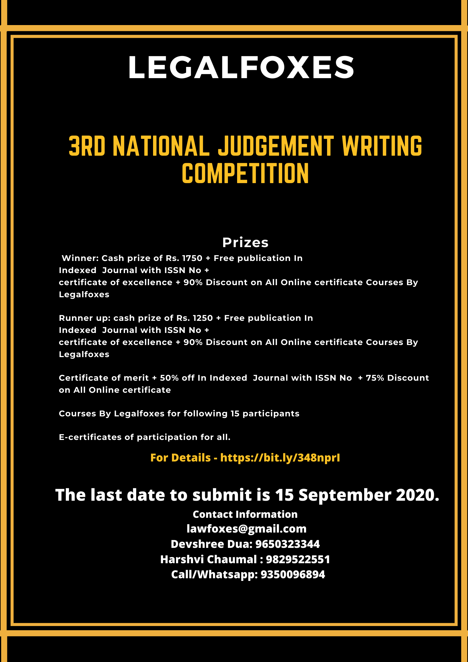 Legal Foxes' 3rd National Online Judgement Writing Competition