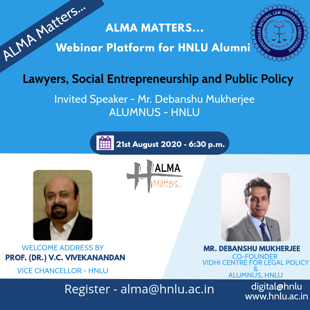 HNLU Raipur's Webinar on Lawyers, Social Entrepreneurship and Public Policy