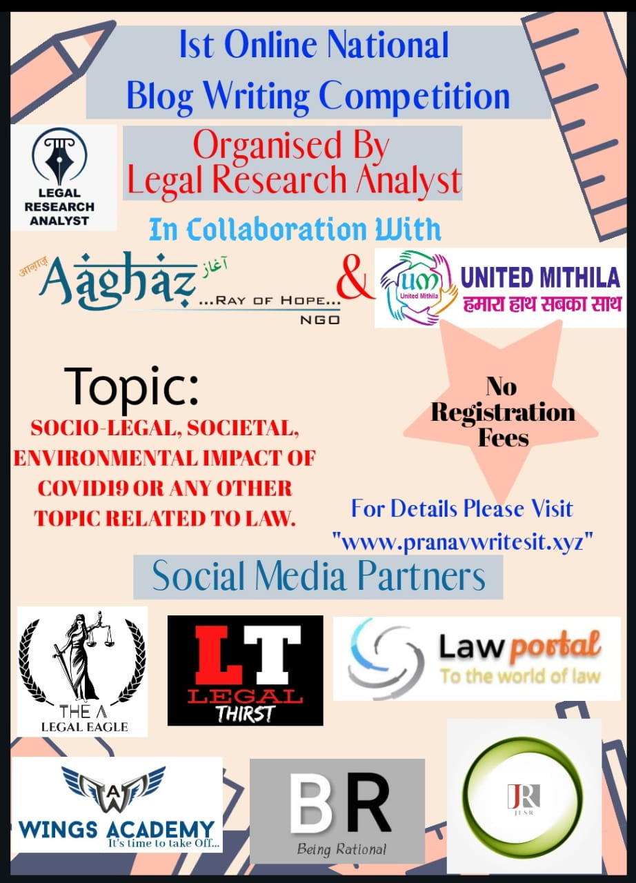 Legal Research Analyst's 1st National Blog Writing Competition