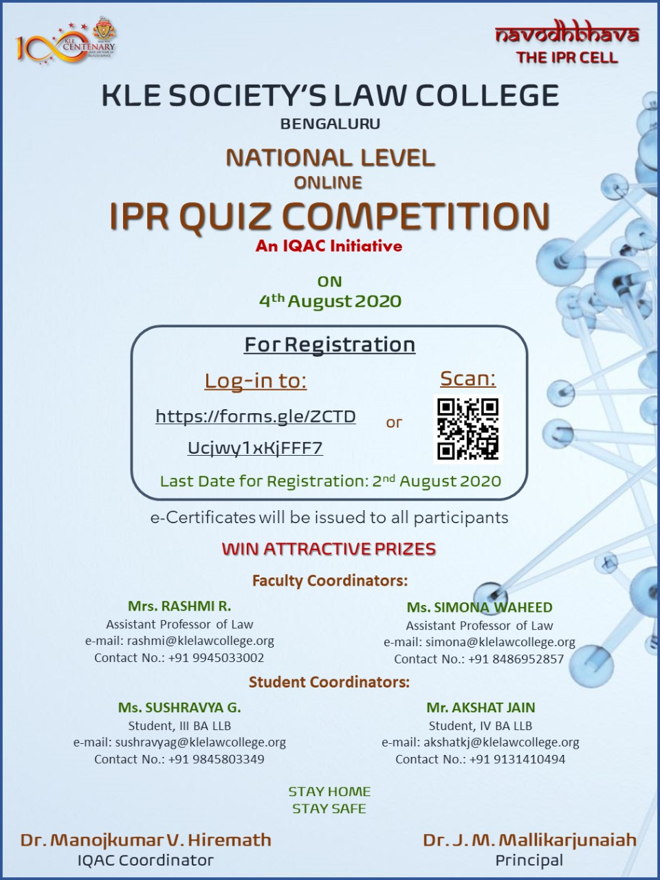 National Online Quiz Competition by KLE Society's Law College