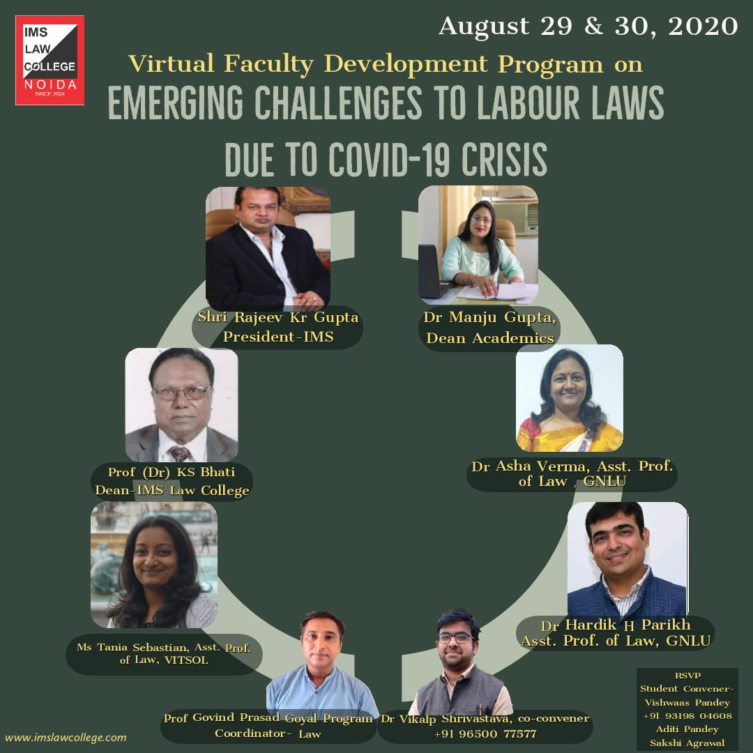 IMS Law College FDP on Emerging Challenges to Labour Laws due to COVID-19 Crises
