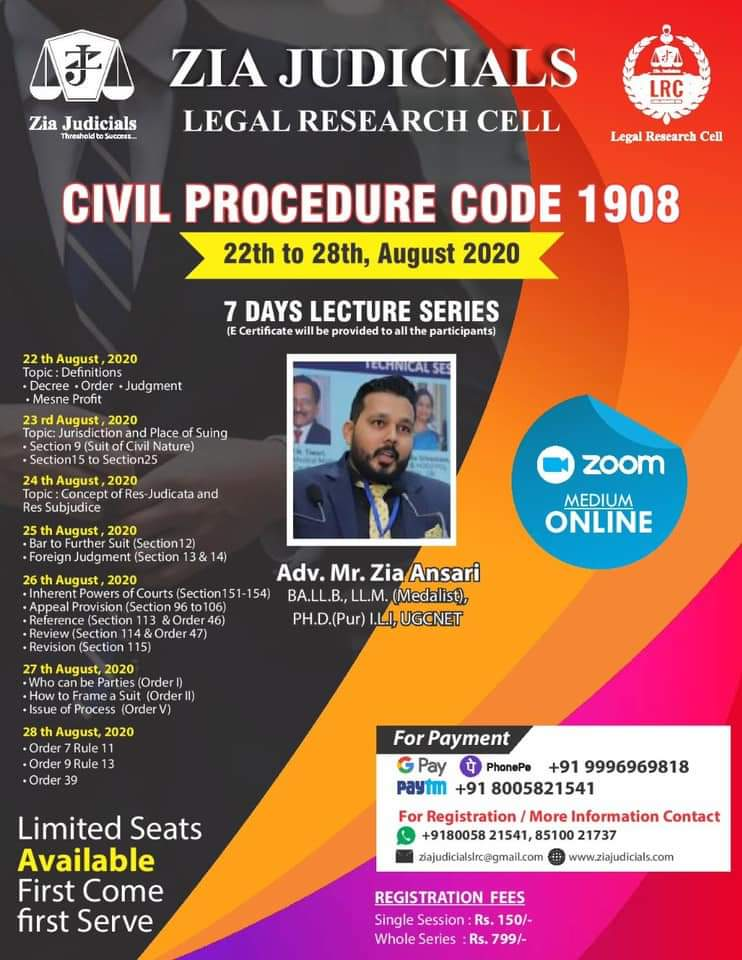Lecture Series on Civil Procedure Code by Zia Judicials Legal Research Cell