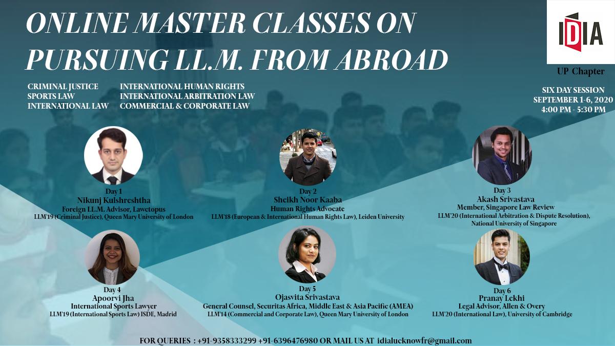 IDIA UP Chapter's Online Master Classes on Pursuing LLM from Abroad