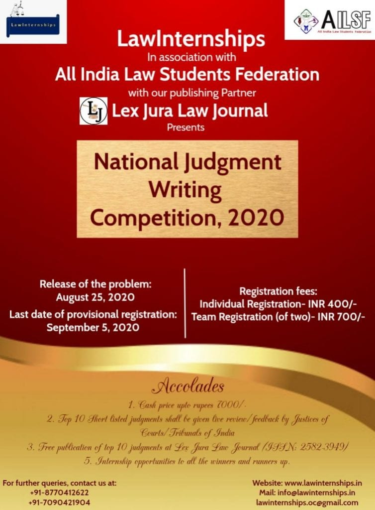 1st National Judgment Writing Competition by LawInternships and AILSF