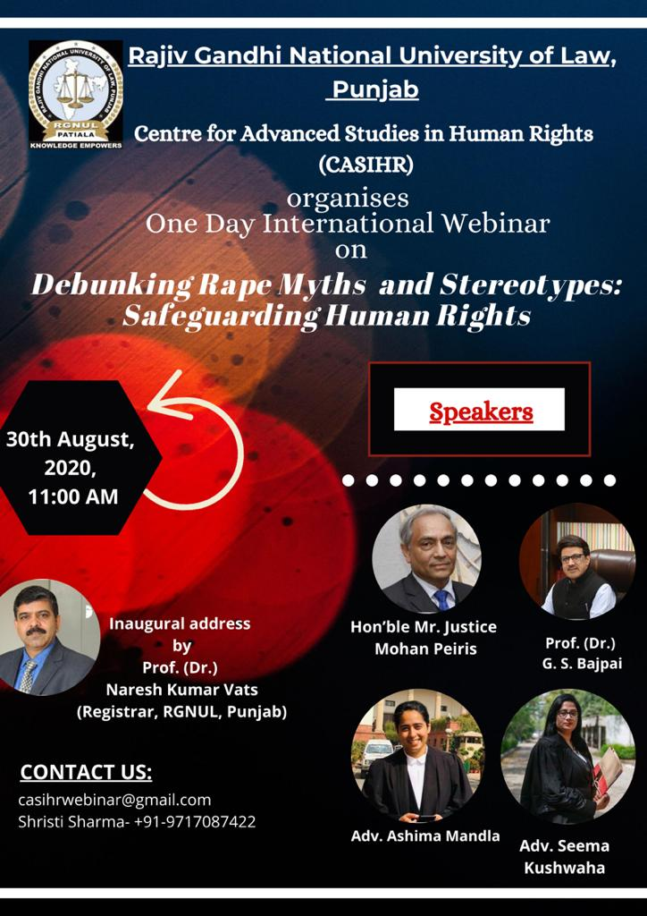 RGNUL's Webinar on Debunking Rape Myths and Stereotypes: Safeguarding Human Rights