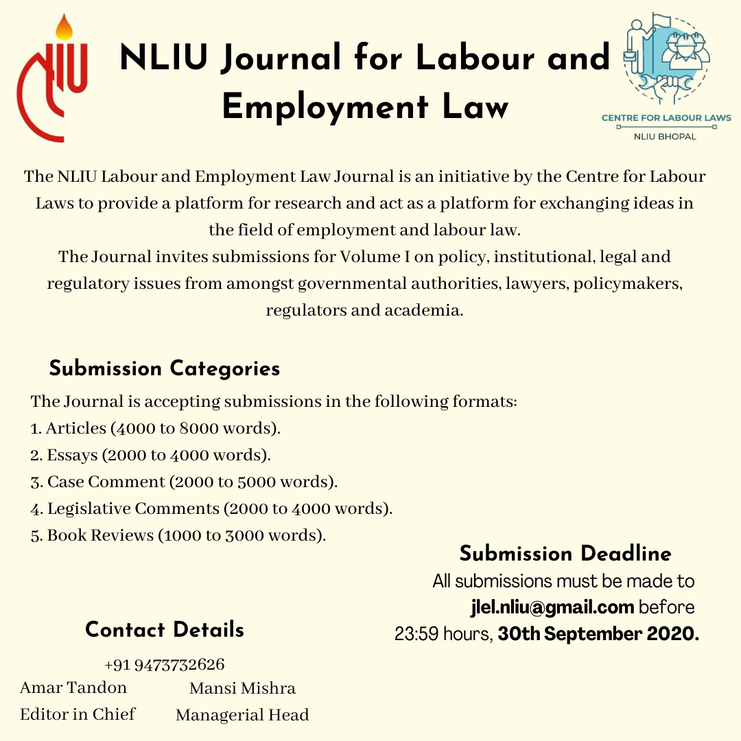 NLIU's Journal for Labour and Employment Law