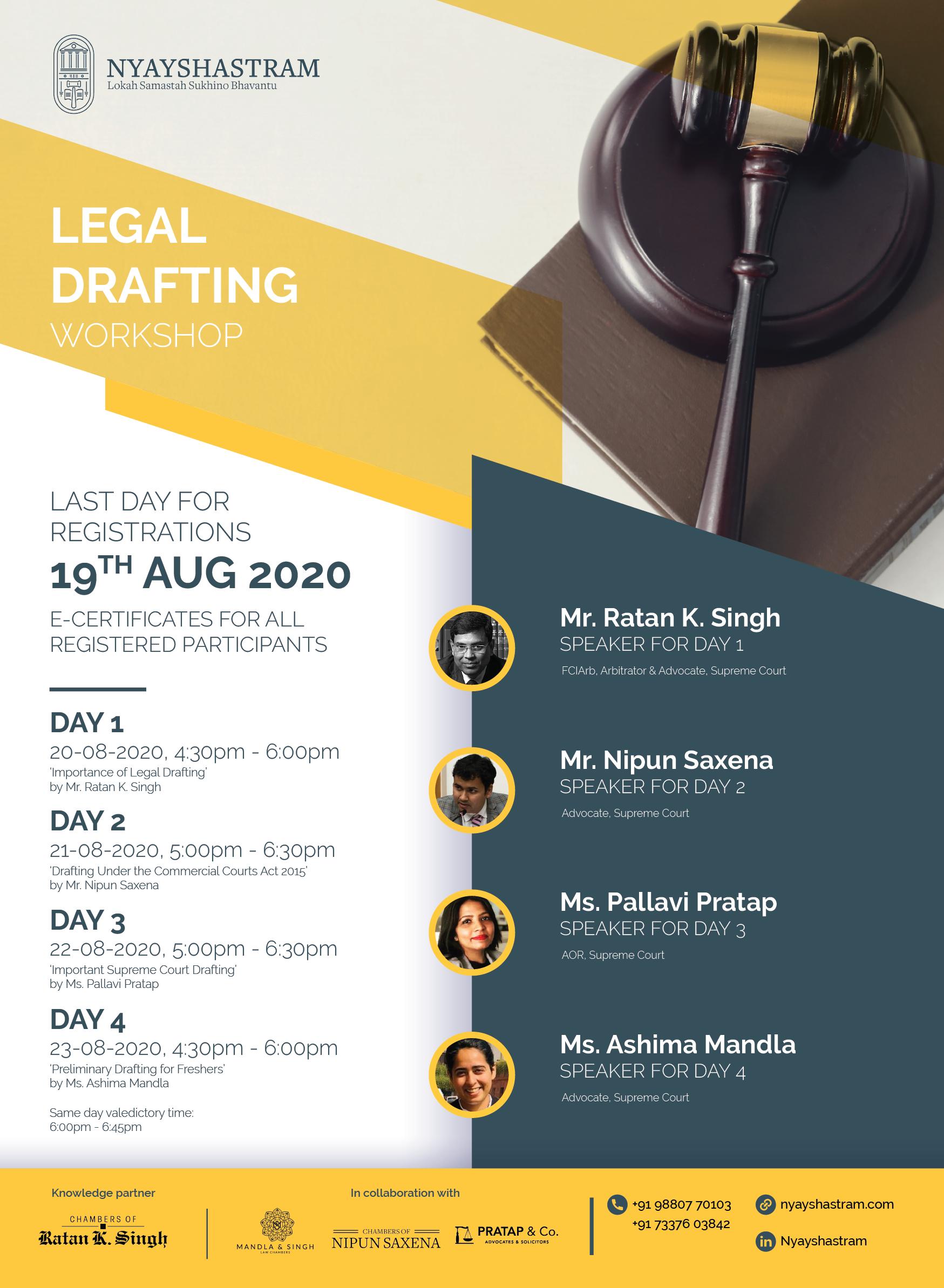 Nyayshastram's Workshop on Legal Drafting