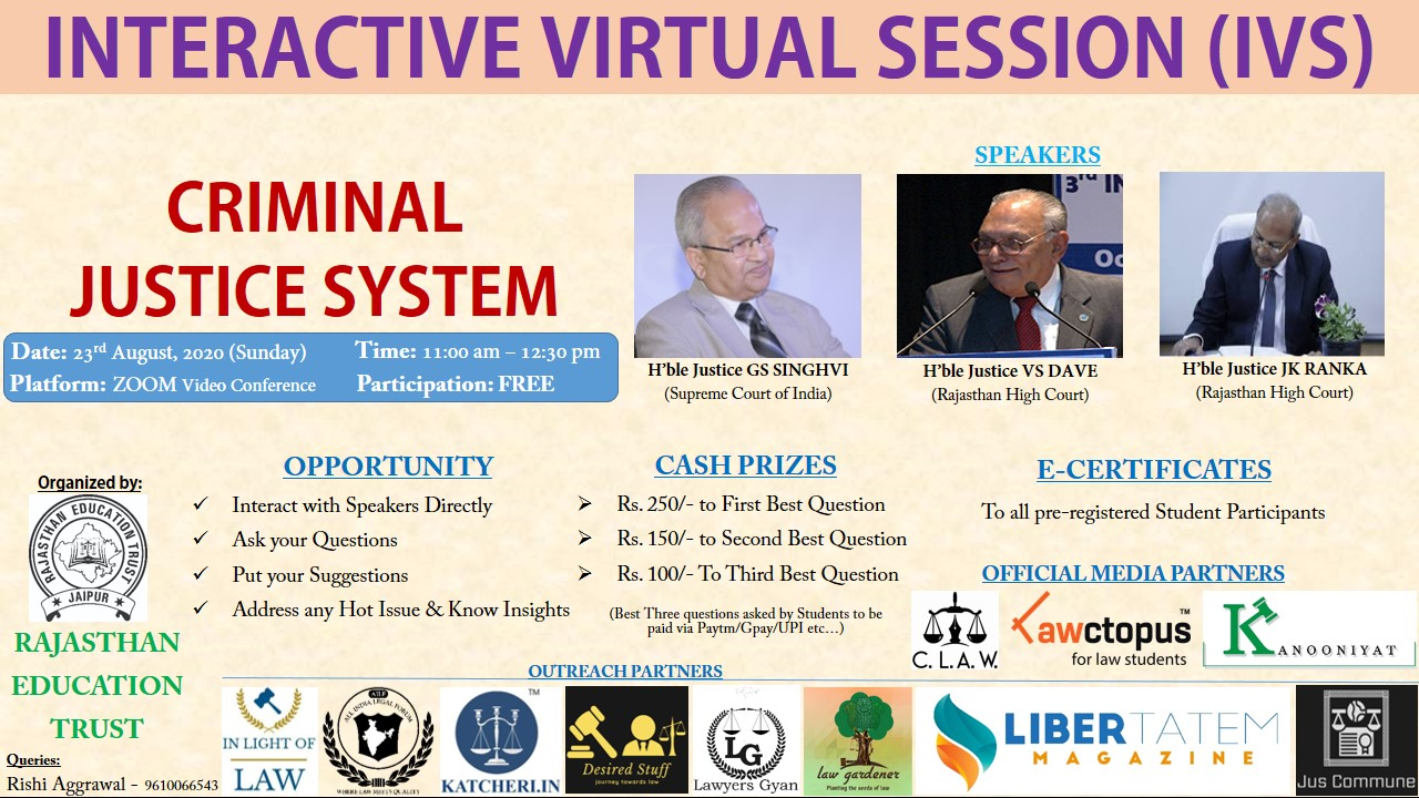 Interactive Virtual Session on Criminal Justice System by Rajasthan Education Trust