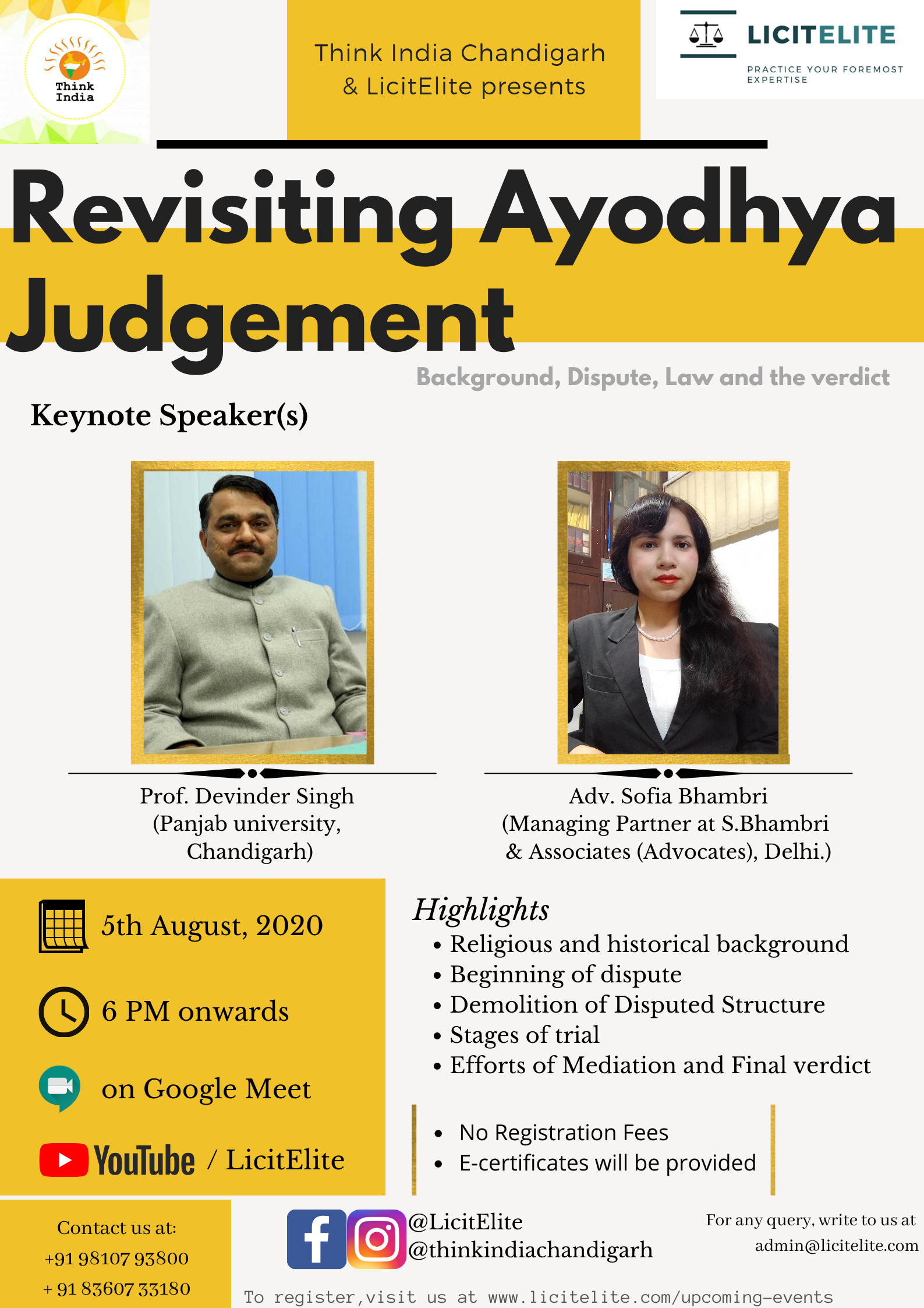 Webinar on Revisiting the Ayodhya Judgement by Think India and Licitelite