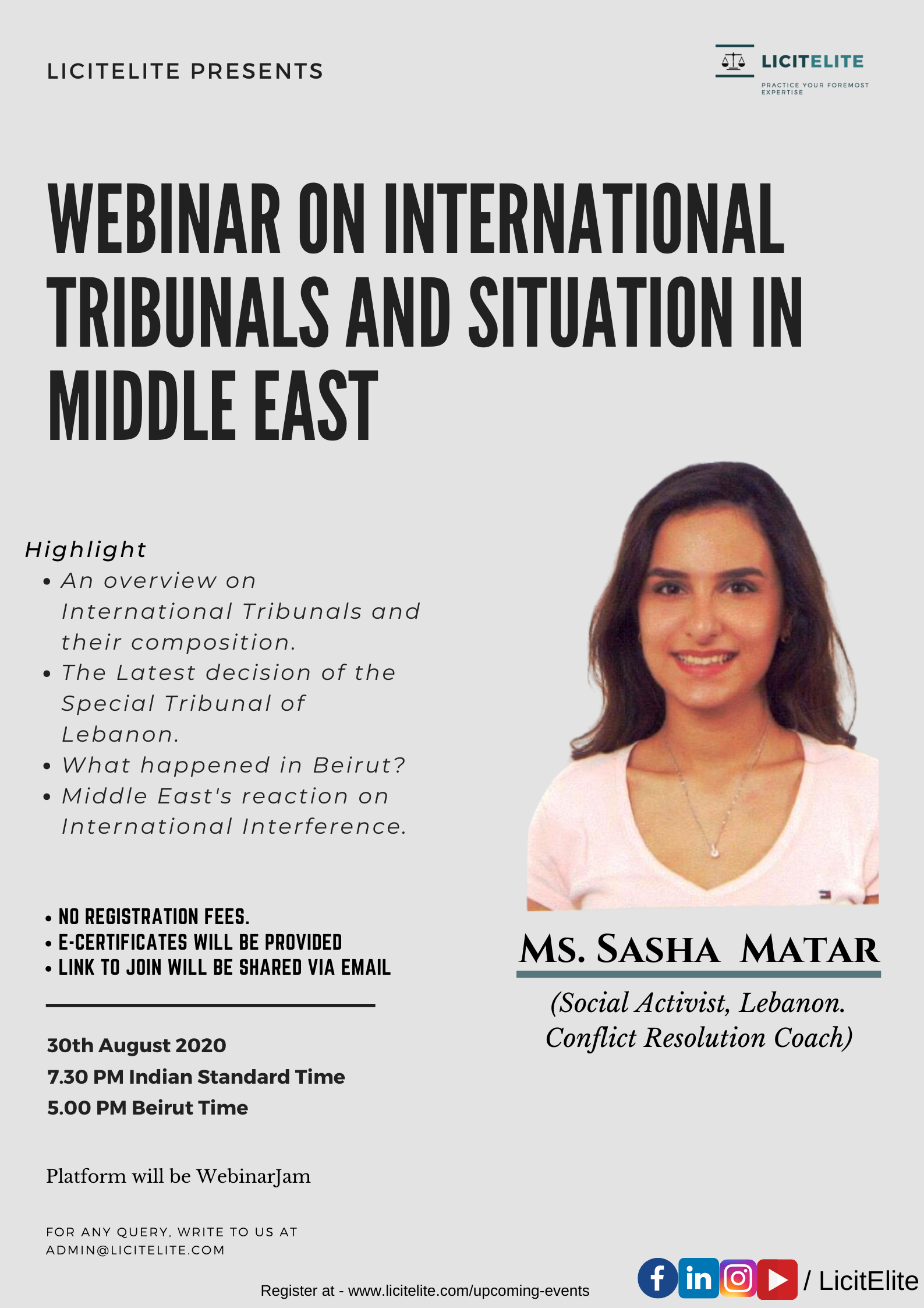LicitElite's Webinar on International Tribunals and Situation in Middle East