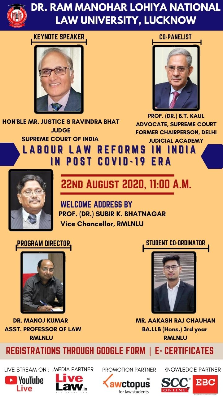 Webinar on Labour Law Reforms in India Post COVID-19 Era by RMLNLU