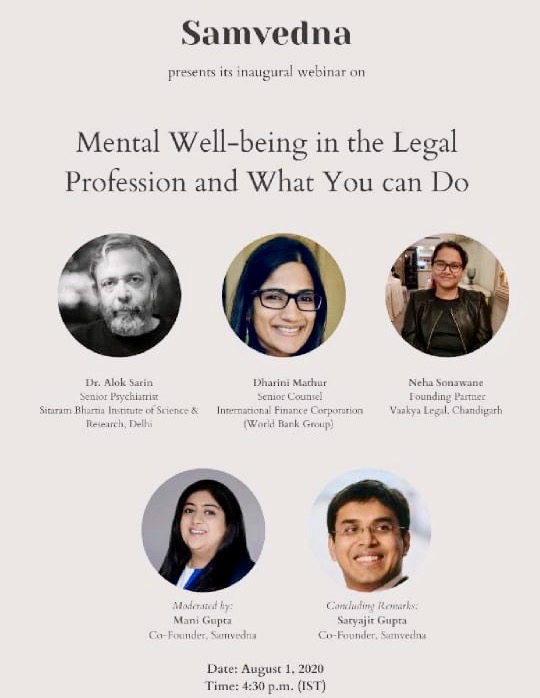 Samvedna Webinar on Mental Well-Being in the Legal Profession