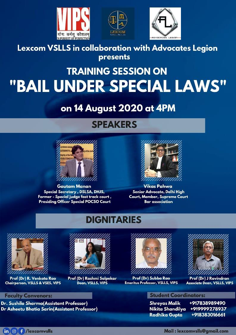 Webinar Cum Training Session on Bail under Special Laws by VSLLS