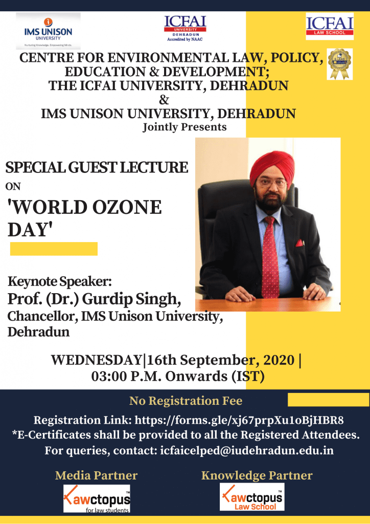 Lecture on World Ozone Day by ICFAI University & IMS Unison University, Dehradun