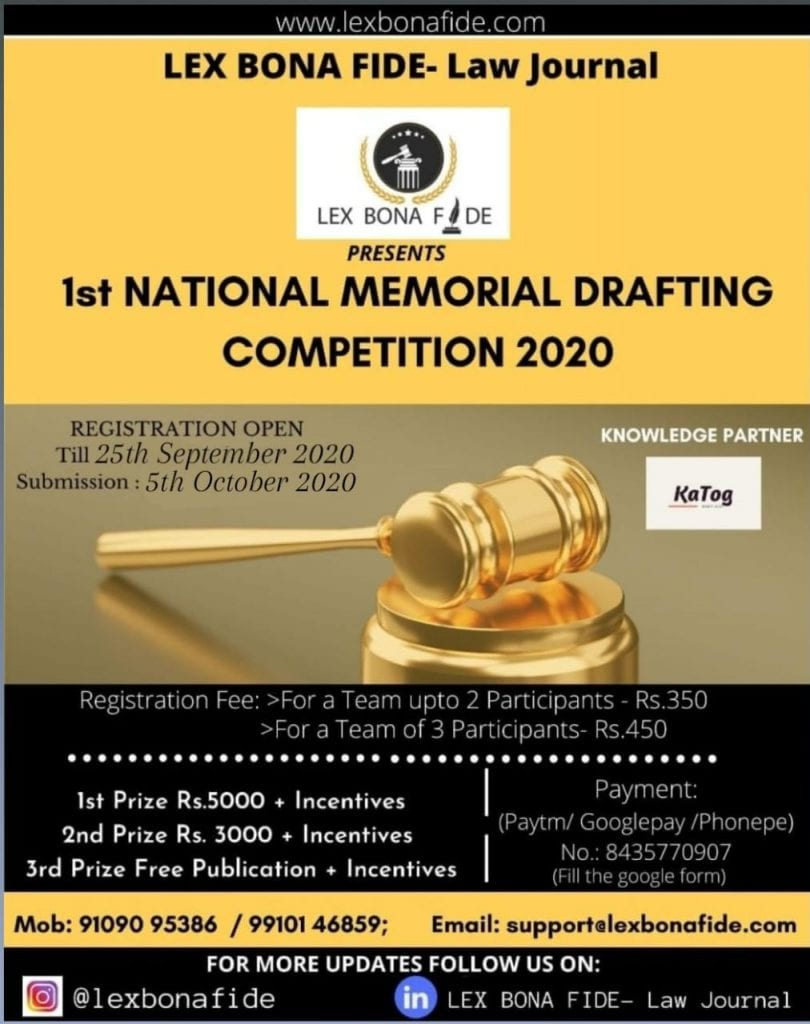 1st Memorial Drafting Competition 2020 by Lex Bona Fide