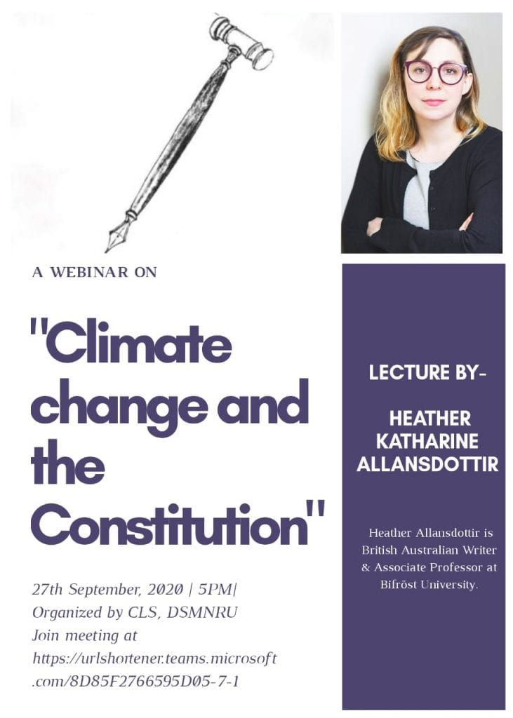 Dr. Shakuntala Misra National Rehabilitation University's Webinar on Climate Change and the Constitution