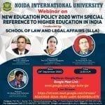 Webinar on New Education Policy 2020 by Noida International University