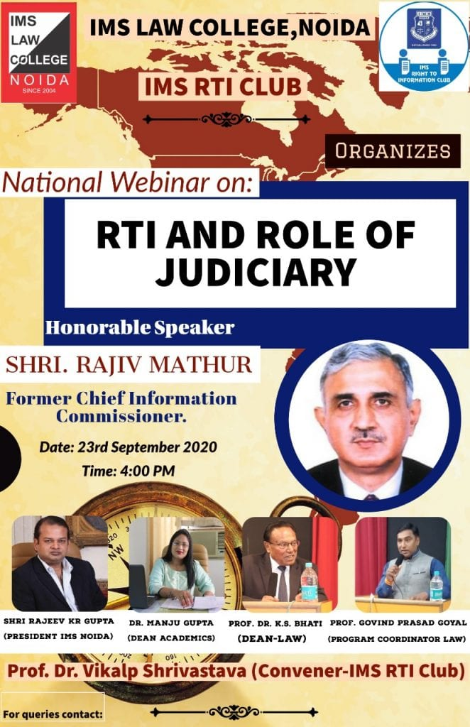 Webinar by RTI and Role of Judiciary by IMS Law College, Noida