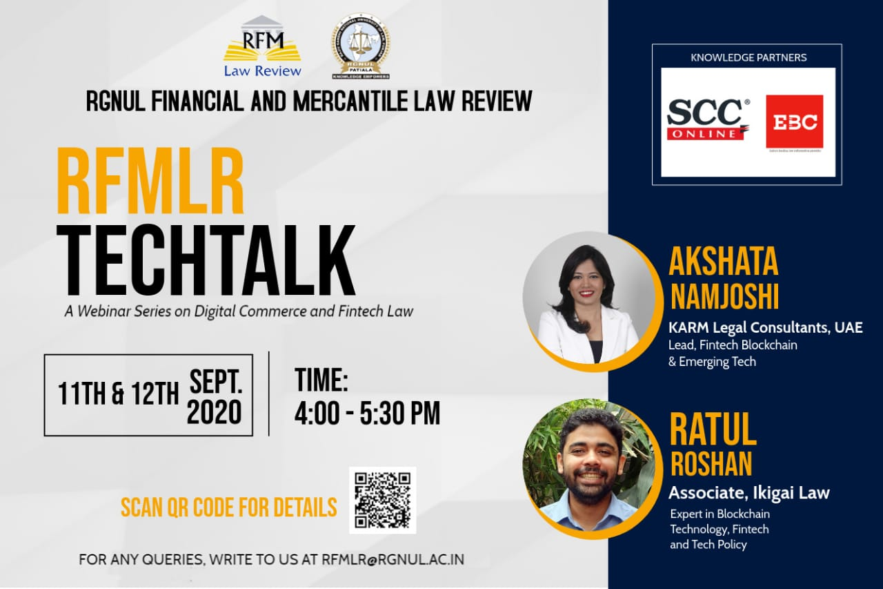 RGNUL Financial and Mercantile Law Review's Techtalk Series