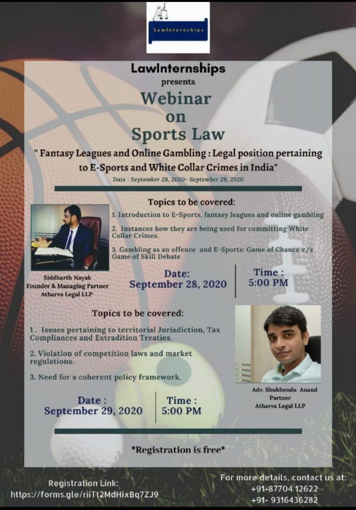LawInternships' Webinar on Legal Position pertaining to E-Sports and White Collar Crimes in India