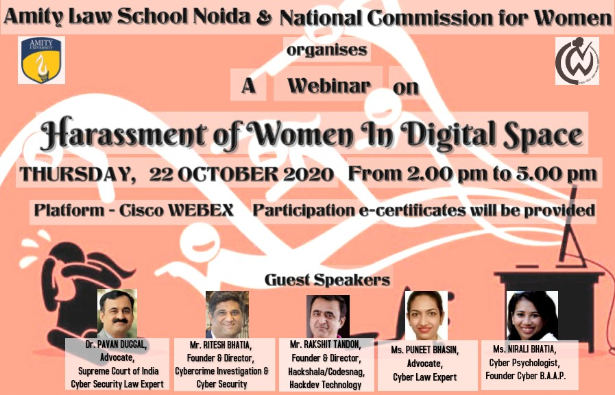 Webinar on Harassment of Women in Digital Space by Amity Law School, Noida
