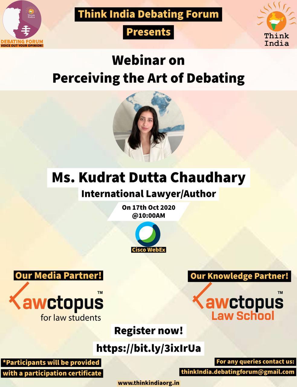 Webinar on Perceiving the Art of Debating by Think India Debating Forum