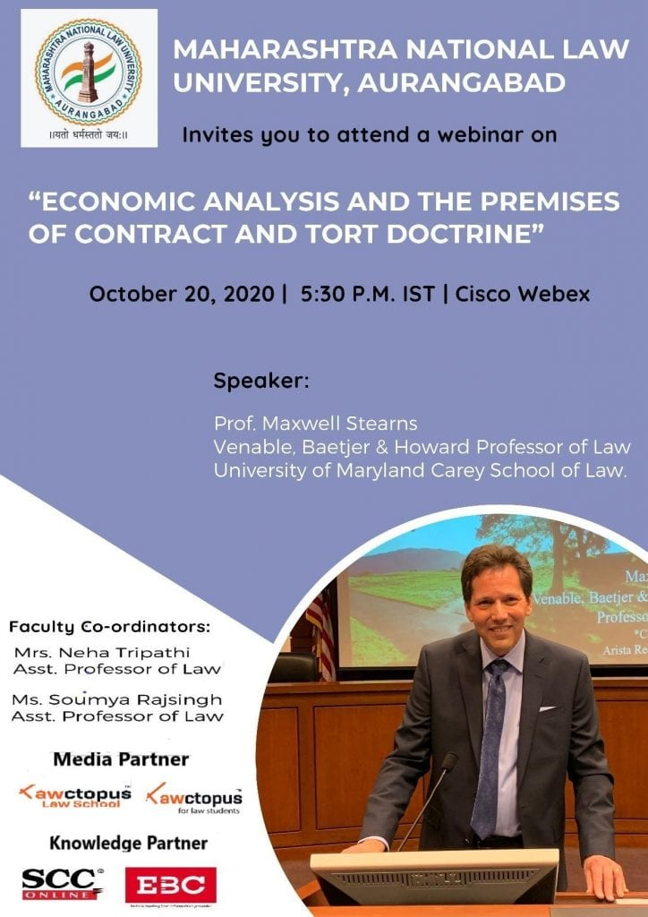 Webinar on Economic Analysis and the Premises of Contract and Tort Doctrine by MNLU, Aurangabad