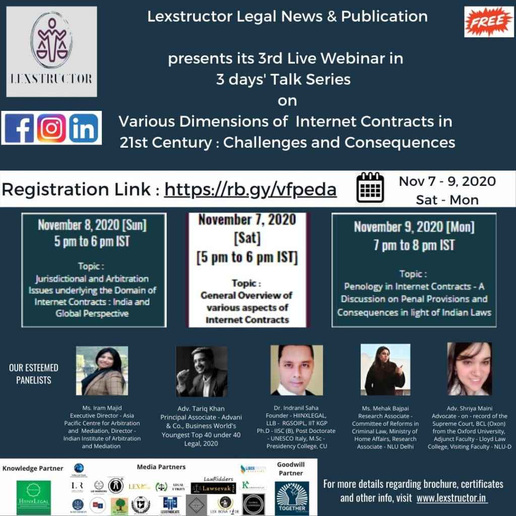 Lexstructor's Webinar Series on Various Dimensions of Internet Contracts in 21st Century