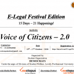 """Student Organization """"Democrats"""" under the aegis of Division of Students Welfare, Lovely Professional University is organizing E-Legal Festival Edition."""