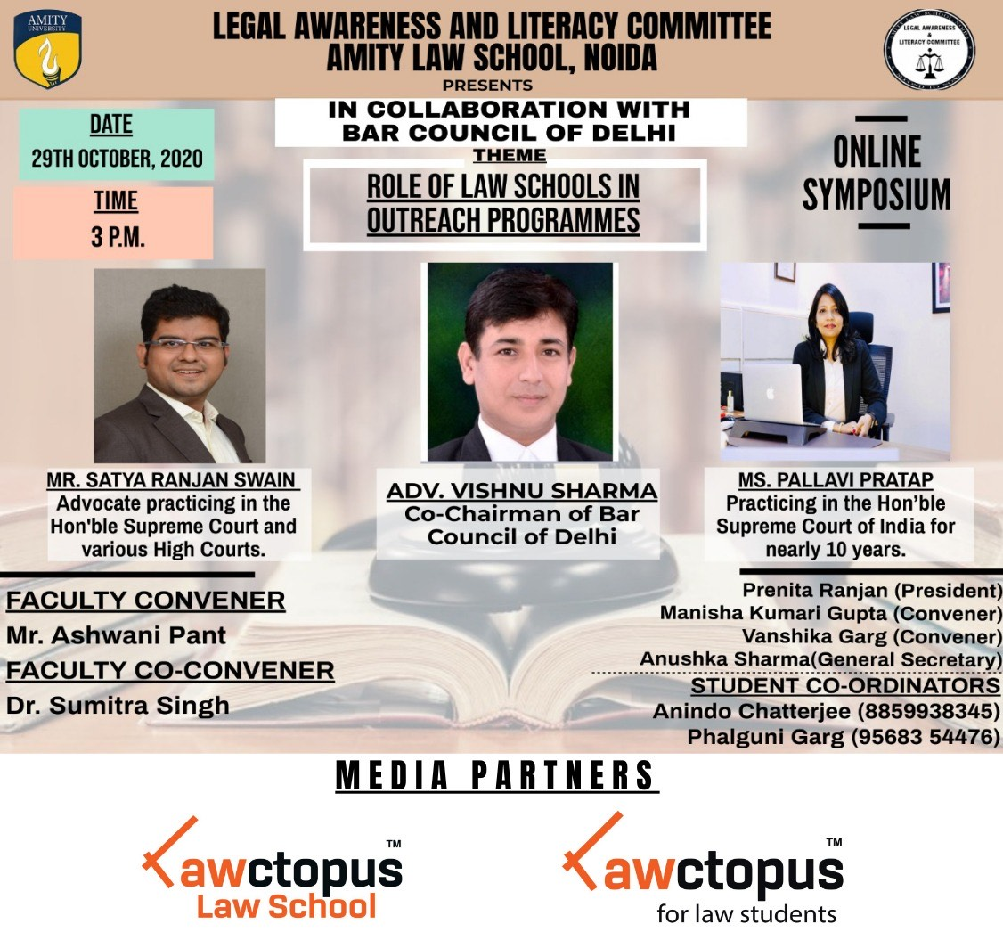 Amity Law School, Noida's Symposium on Role of Law Schools in Outreach Programmes