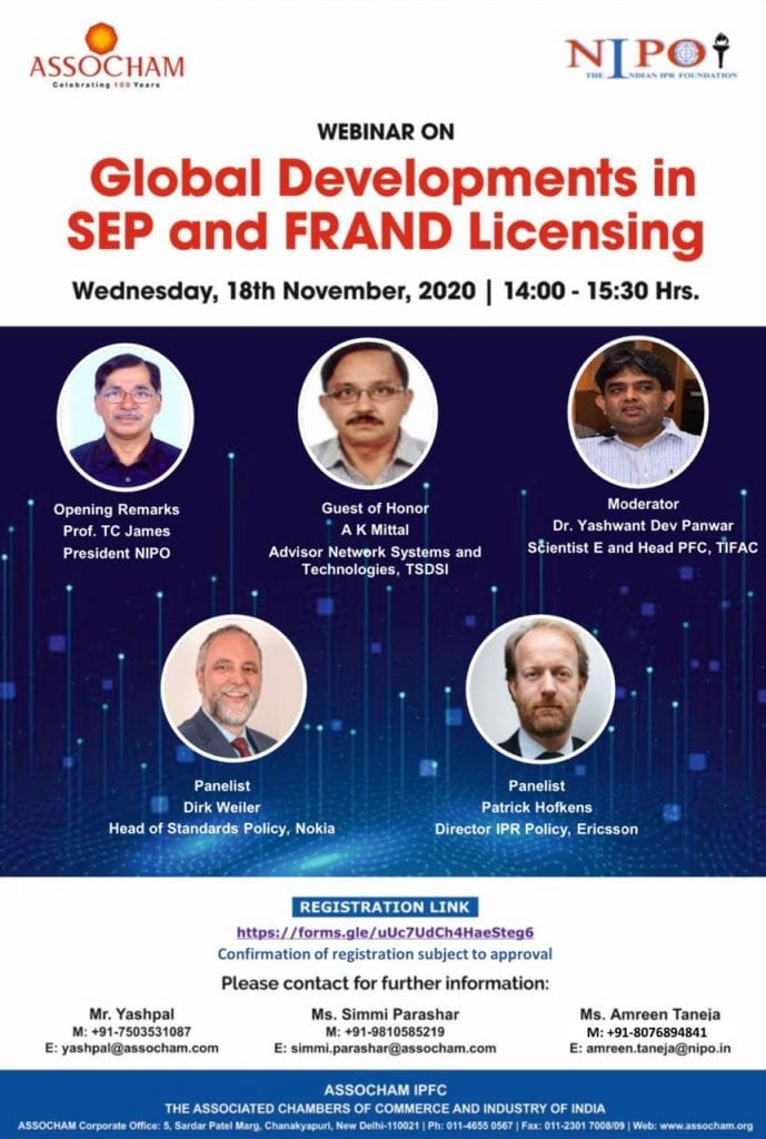 NIPO and ASSOCHAM's Webinar on Global Developments in SEP and FRAND Licensing