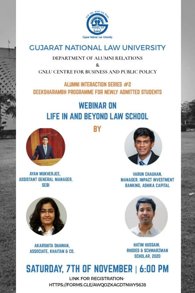 GNLU's Webinar on Life in and beyond Law School