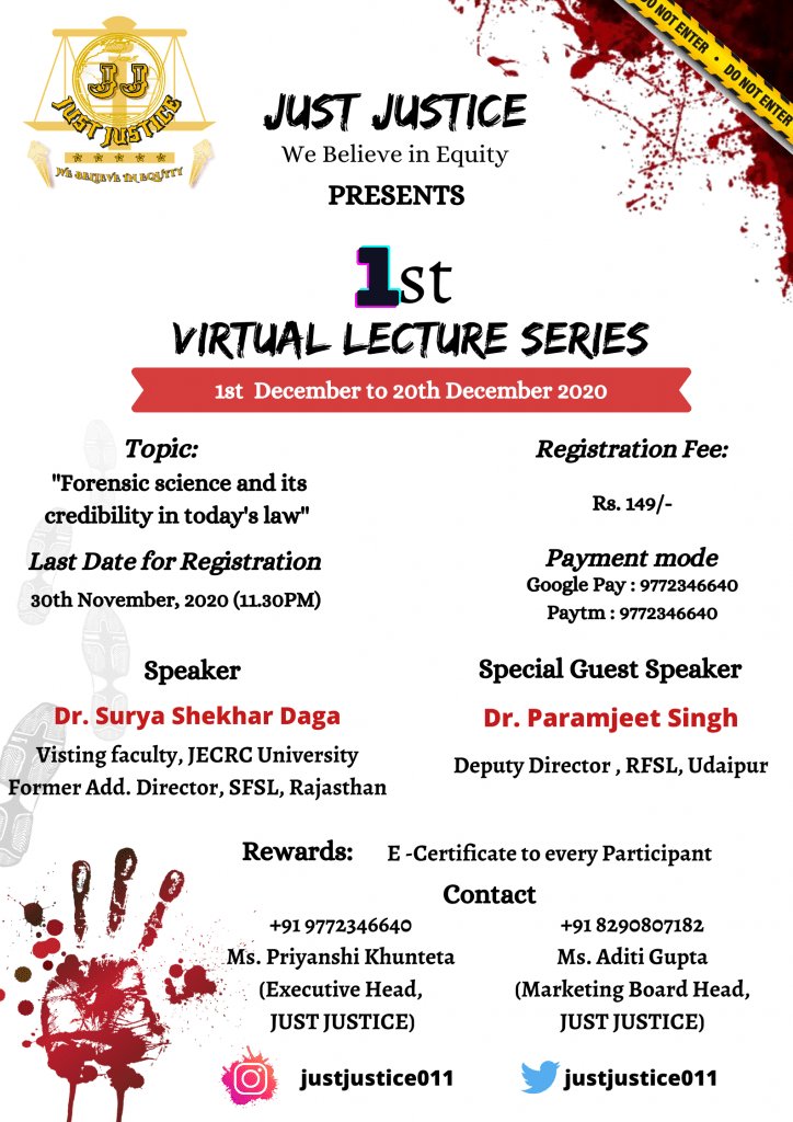 Just Justice's 1st Virtual Lecture Series