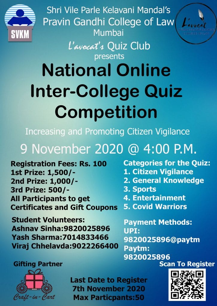 SVKM Pravin Gandhi College of Law's National Inter-College Quiz Competition