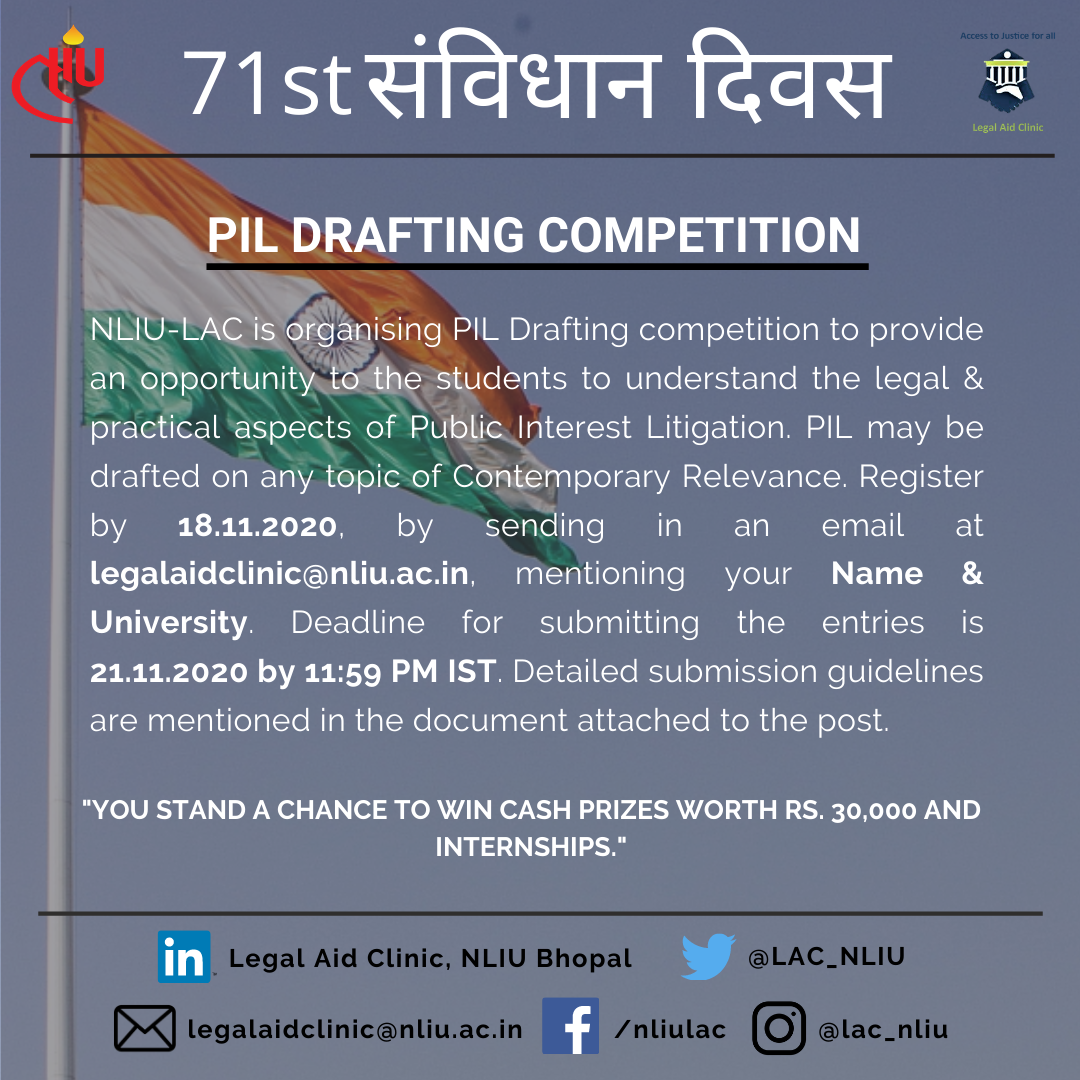 PIL Drafting Competition on Constitution Day by NLIU LAC