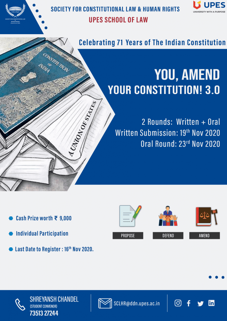 UPES, School of Law's You, Amend Your Constitution 3.0 Competition