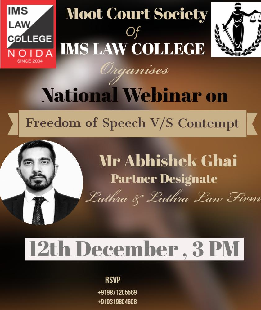 IMS Law College Webinar on Freedom of Speech VS Contempt