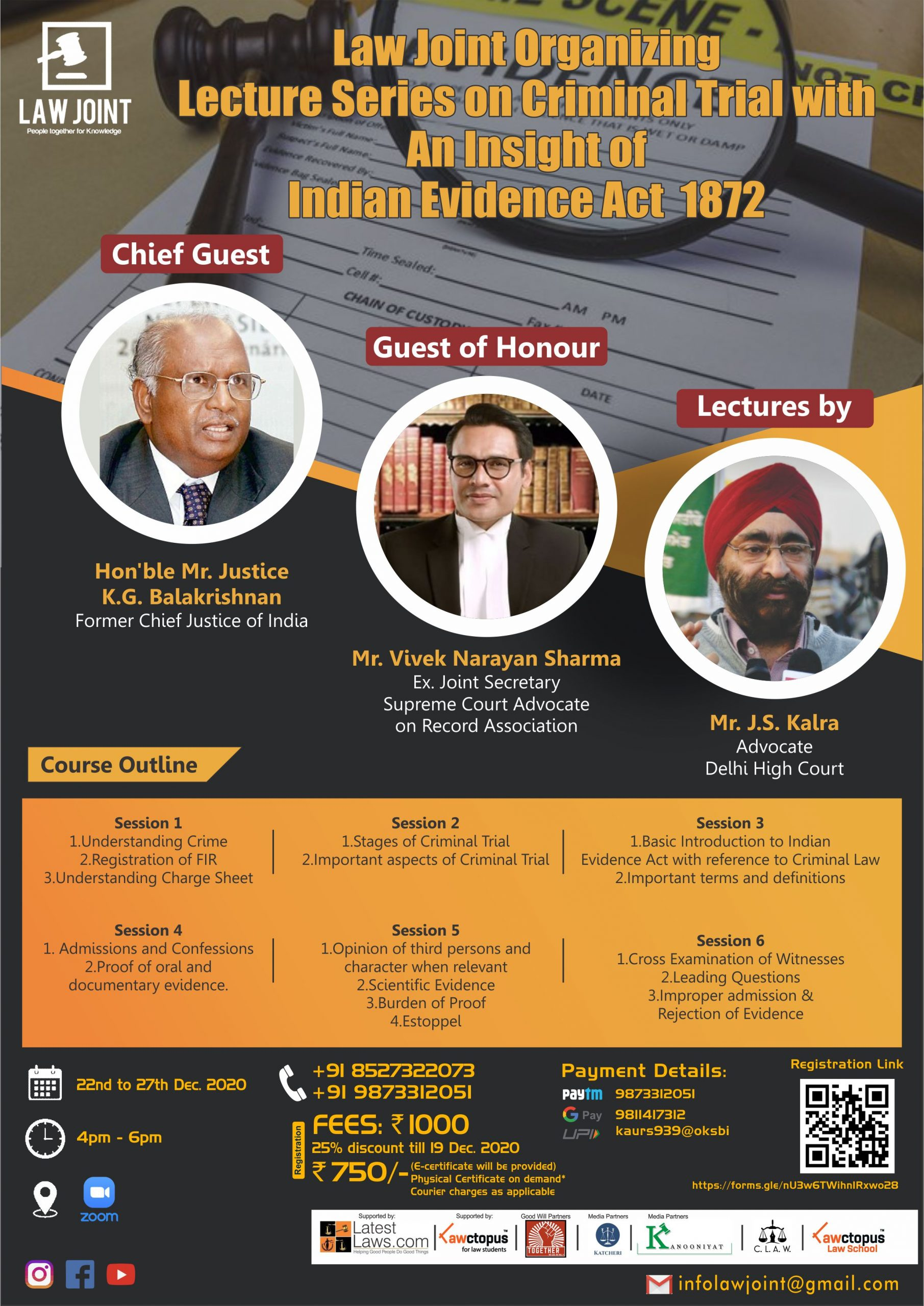 Law Joint's Lecture Series on Criminal Trial with and Insight of Indian Evidence Act