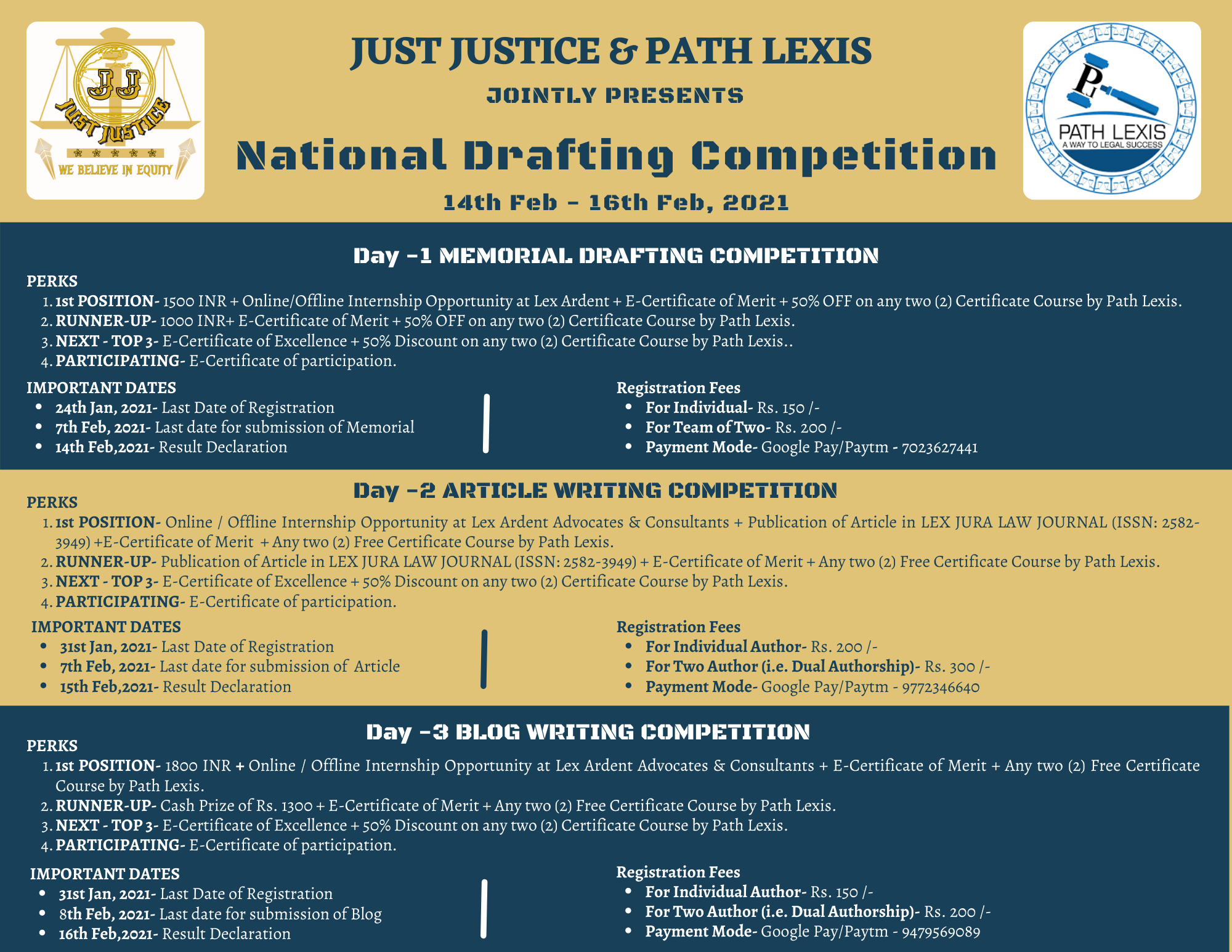 National Drafting Competition by Just Justice and Path Lexis