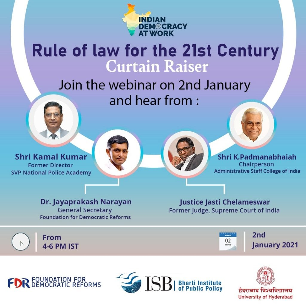 Webinar on Rule of Law for the 21st Century by Indian Democracy At Work