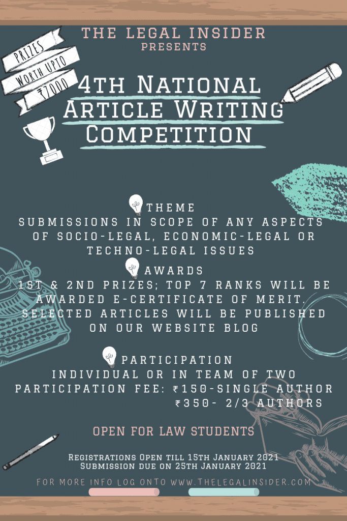 The Legal Insider's 4th National Article Writing Competition