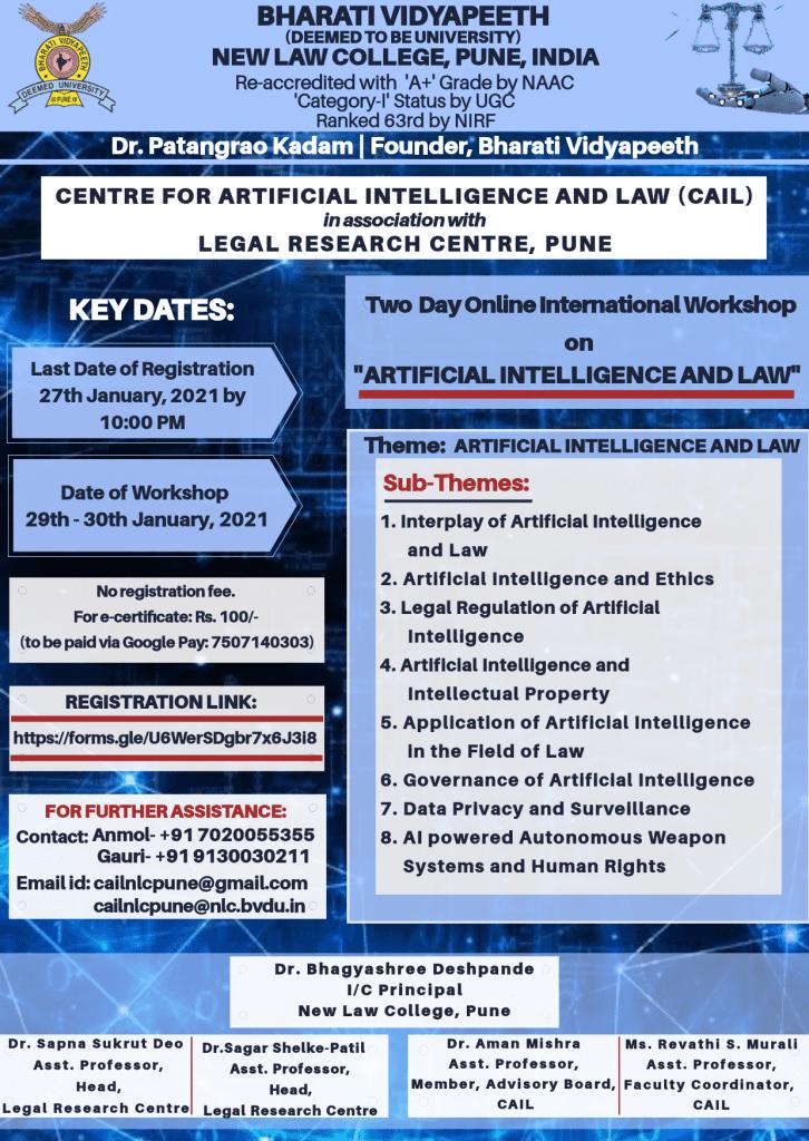 International Workshop on Artificial Intelligence and Law by Bharati Vidyapeeth University