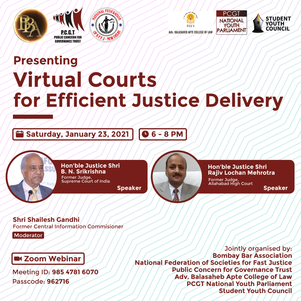 PCGT's Webinar on Virtual Courts for Efficient Justice Delivery