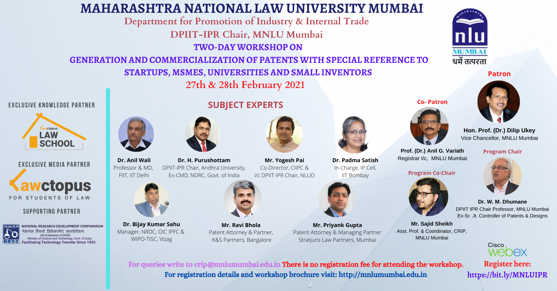 MNLU Mumbai's Workshop on Generation and Commercialization of Patents
