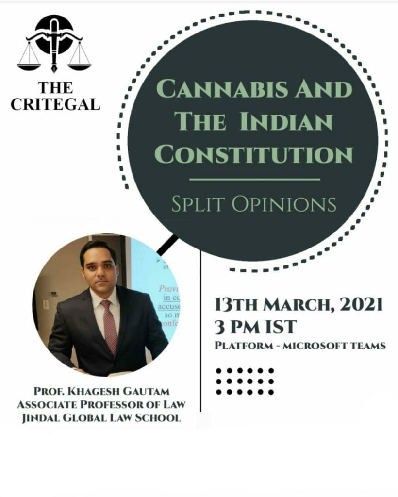 Webinar on Cannabis and The Indian Constitution by The Critegal