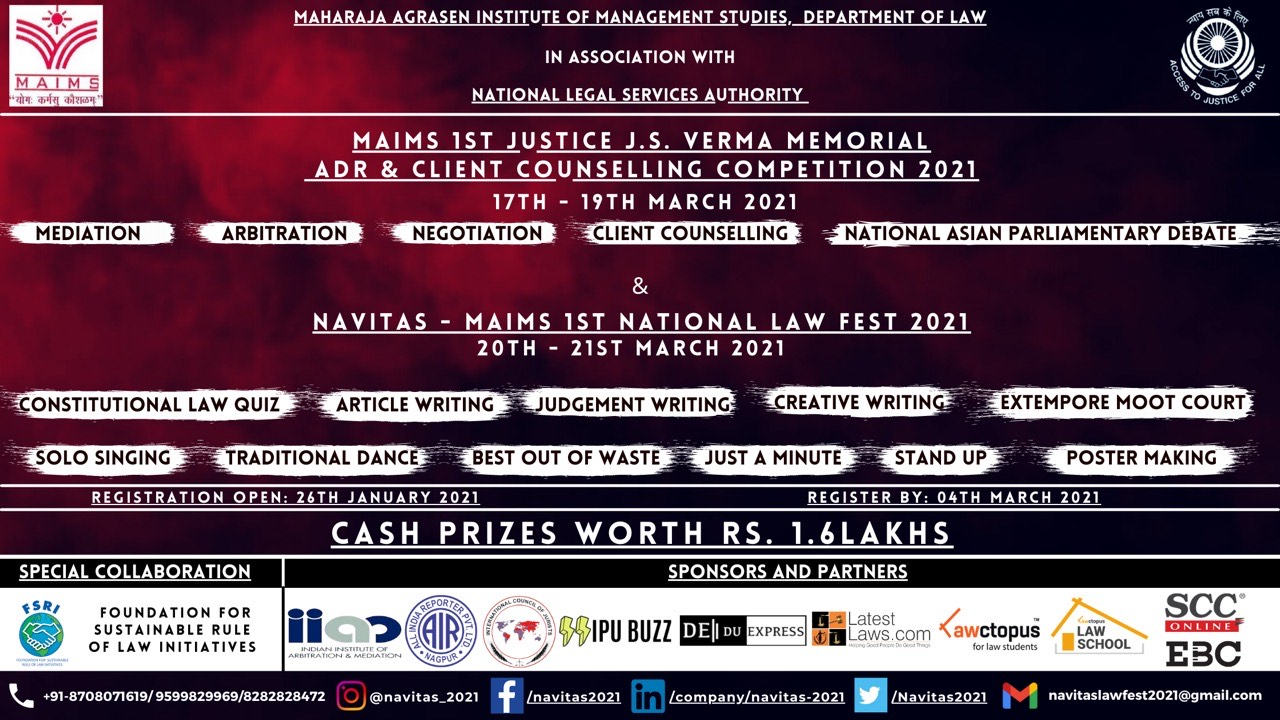 MAIMS's 1st Justice J.S. Verma Memorial ADR & Client Counselling Competition and Law Fest